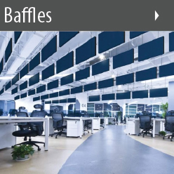 Ceiling Baffles shown in an effective acoustic grouping over an open office design.