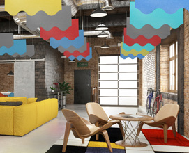City skyline and wave acoustic baffles